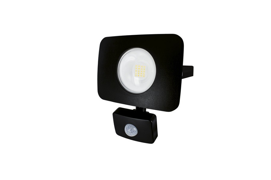 integral led compact tough pir floodlight presence detecting 20 watts black finish