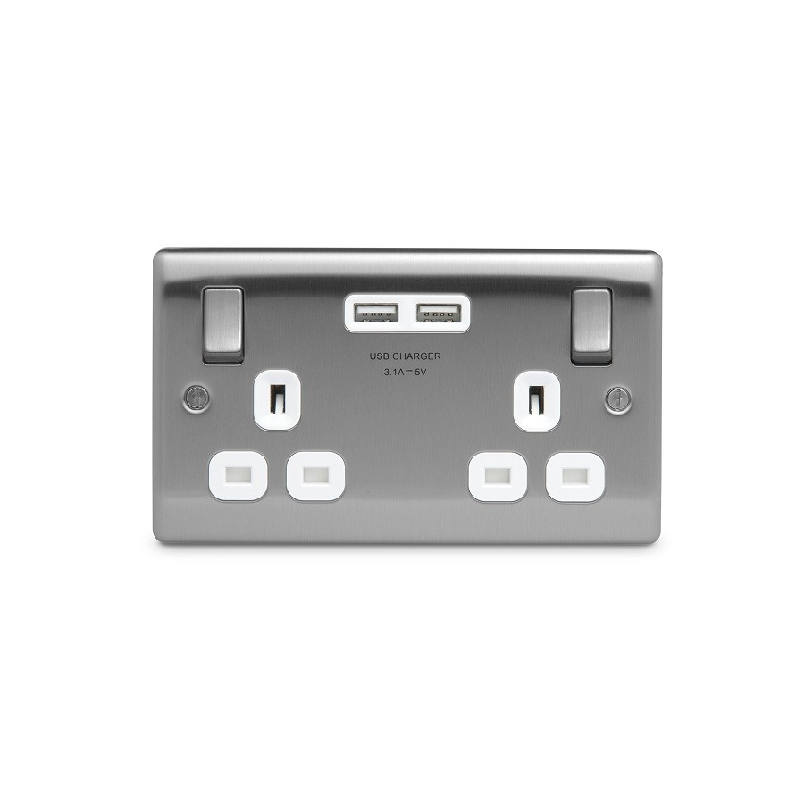 Nbs22u3w Nexus Double Socket With Usb The Electrical Showroom Smart Switch Wiring Metal 13a Plug 2 X Charger 31a Brushed Steel Finish White Inserts