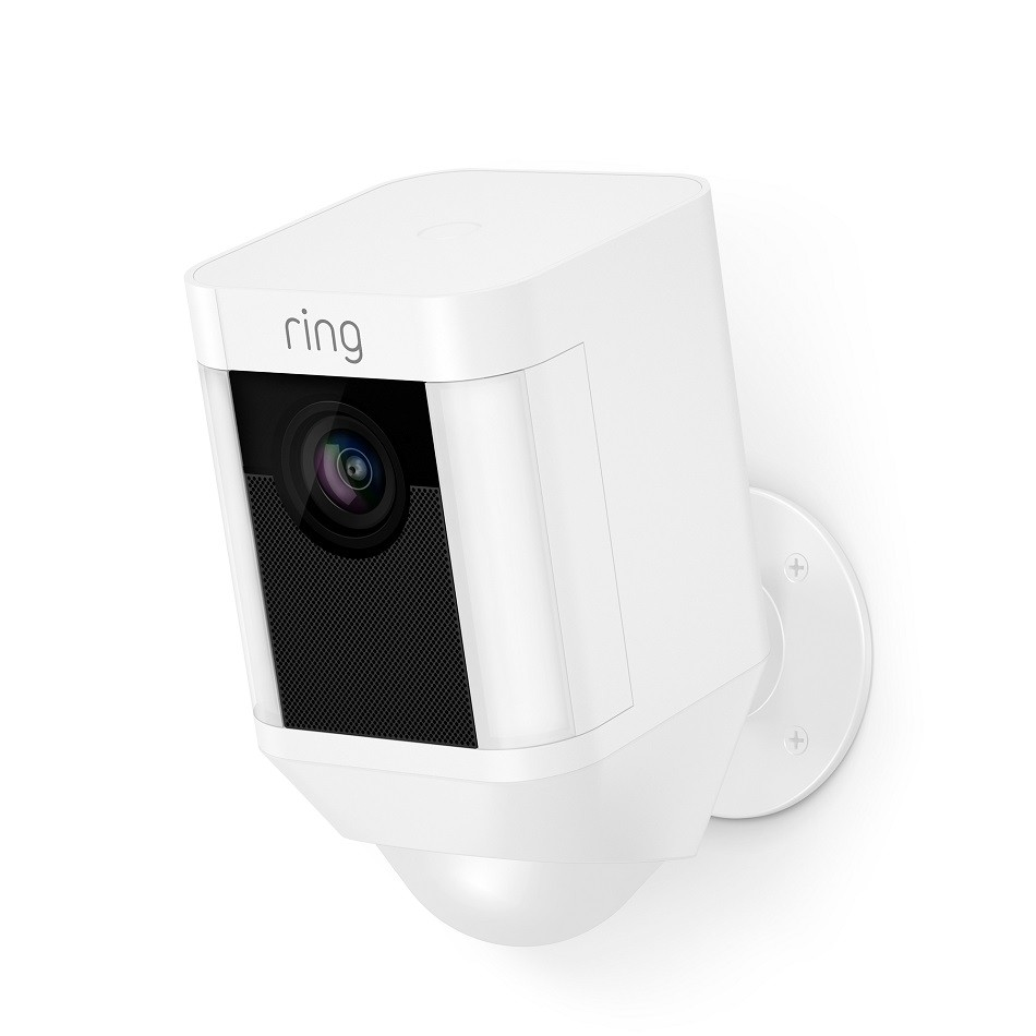 ring wired spotlight camera smart home white