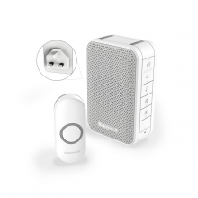 Honeywell Series 3 Wireless Plug-in Doorbell Kit with Volume Control, LED Strobe Alert, White