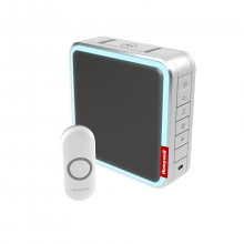 Honeywell Series 9 Wireless Portable Doorbell Kit with Range Extender & Customisable Melodies, Grey
