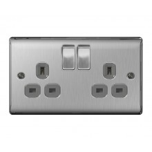 Nexus Metal Double 13A Plug Socket, Brushed Steel Finish, Grey Inserts