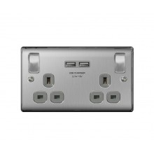 Nexus Metal 13A Double Plug Socket with 2 x USB Charger (2.1A), Brushed Steel Finish, Grey Inserts