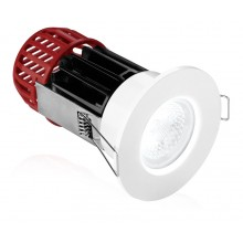 Aurora M10 LED Fire Rated Downlight, Adjustable, Dimmable, Warm White LED, White Finish