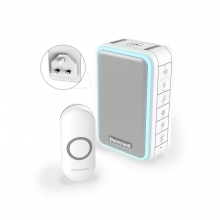 Honeywell Series 3 Wireless Plug-in Doorbell Kit with Halo Light, Sleep Mode & USB Charging, White