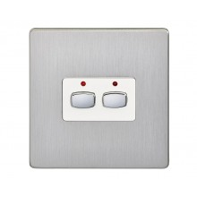 Double Gang MiHome Light Switch, Brushed Steel