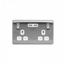 Nexus Metal 13A Double Plug Socket with 2 x USB Charger (3.1A), Brushed Steel Finish, White Inserts