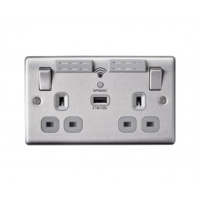 Nexus Metal 13A WIFI Range Extender Double Plug Socket With 1 x USB (2.1A), Brushed Steel, Grey Inserts