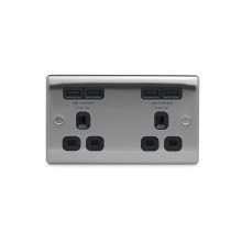 Nexus Metal Double Plug Socket with 4 x USB Charger (2 x 2.1A), Brushed Steel Finish, Black Inserts